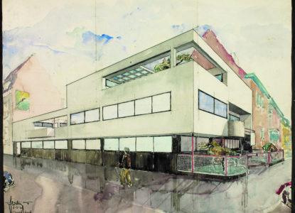 2 Ingekleurde ontwerptekening eigen woning 1930 1sier 1