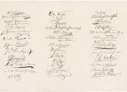 Blad met handtekeningen van de leden van de Vergadering der Aanzienlijken 1814 Cornelis van Baarsel