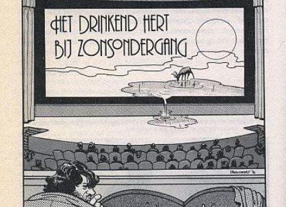 Het drinkend hert bij zonsopgang