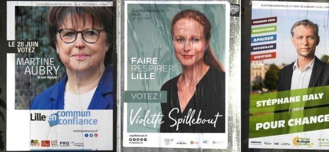 Affiches municipales lille second tour martine aubry violette spillebout stephane baly